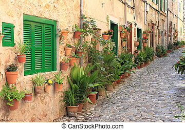 Mediterranean village of Valldemossa - Old houses with...