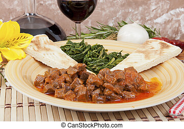 Veal stew heart of the hunter, with cake and spinach - Heart...