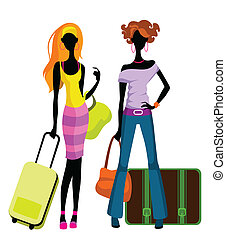 Girls with suitcases - Vector illustration of a girls with...