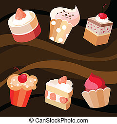 Six cakes set - Vector illustration  of a six cakes set