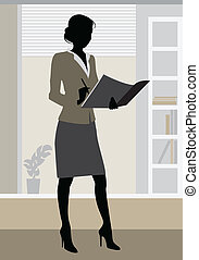 Businesswoman silhouette in office - Vector illustration of...