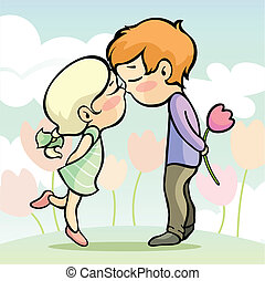 Young loving couple - Vector illustration of a young loving...
