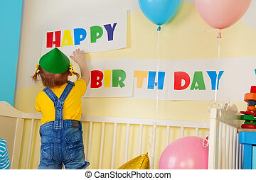 Little girl prepare for birthday party