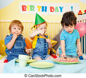 Boys and girl at the birthday party