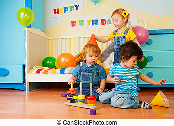 Kids playing on birthday party