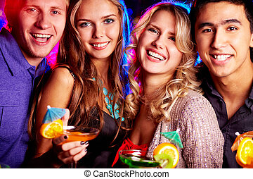 Best friends partying - Group of cheerful friends having fun...