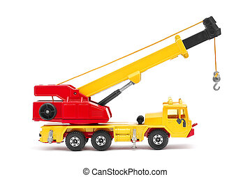 toy crane on white background