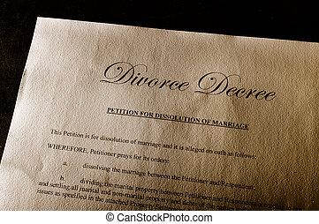 divorce decree document on parchment paper