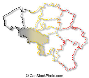 Map of Belgium, Hainaut highlighted - Political map of...