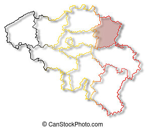 Map of Belgium, Limburg highlighted - Political map of...