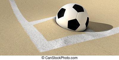 Soccer Ball On A Desert Sand Pitch