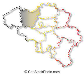 Map of Belgium, East Flanders highlighted - Political map of...