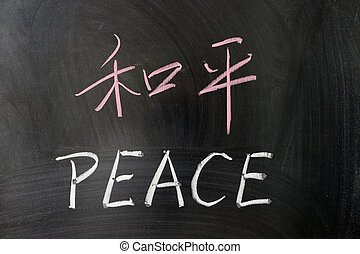 Peace word in Chinese and English