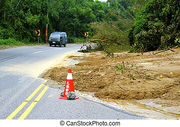 Landslide covers mountain road - Aftermath of a landslide...