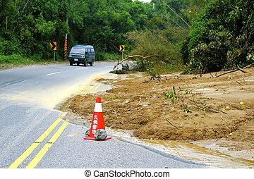Landslide covers mountain road - Aftermath of a landslide...