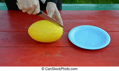 cut melon on red table - cut yellow melon on red table