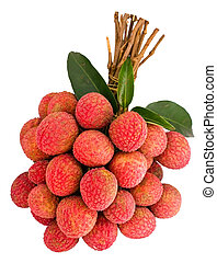 Litchi with green leaf - A bunch of Litchi with green leaf
