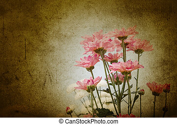 flowers in grunge parchment style