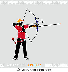 Athlete Archer - Greek art stylized archer with modern...