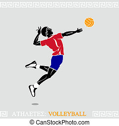 Athlete Volleyball player - Greek art stylized volleyball...