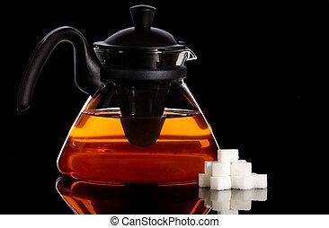 Tea pot and sugar