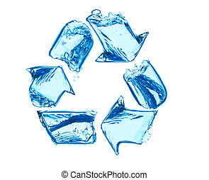 Recycle for clean water - recycling sign made of water...