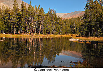 Quiet lake in the mountains of Yosemite Park Early autumn...