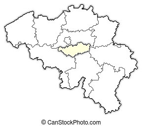 Map of Belgium, Walloon Brabant highlighted - Political map...