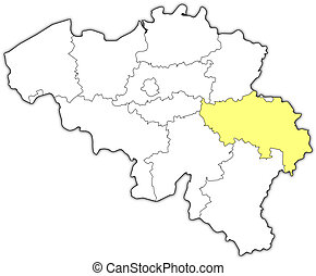 Map of Belgium, Liege highlighted - Political map of Belgium...