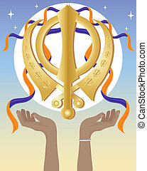 hands with sikh symbol - an illustration of a golden sikh...