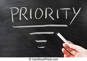 Priority concept drawing on the blackboard