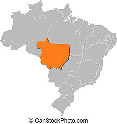 Map of Brazil, Mato Grosso highlighted - Political map of...