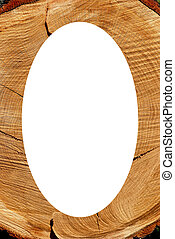 White oval photo frame texture of cut oak backdrop