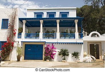 typical white Tunisian architecture mansion with flowers...