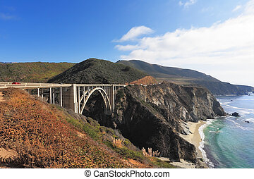 Seaside highway on Pacific ocean - Excellent viaduct Seaside...