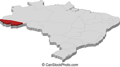 Map of Brazil, Acre highlighted - Political map of Brazil...