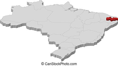 Map of Brazil, Paraiba highlighted - Political map of Brazil...