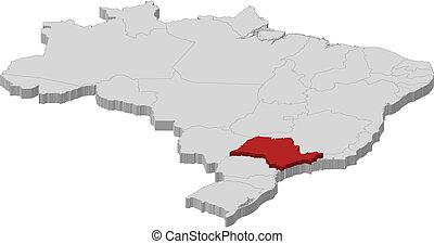 Landkarte, brasilien, Sao, Paulo, hervorgehoben