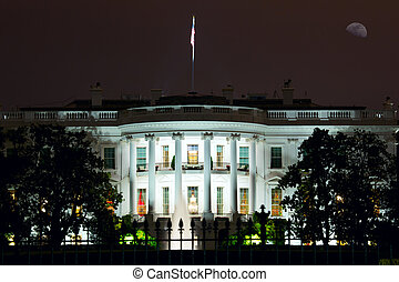 The White House - Nighttime view of The White House in...