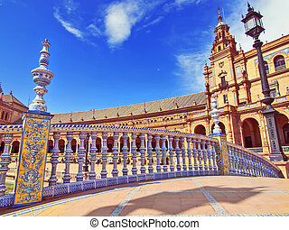 Bridge in Plaza de Espana, Seville, Spain