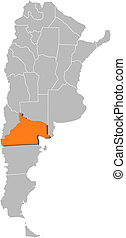 Map of Argentina, Rio Negro highlighted