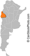 Map of Argentina, San Juan highlighted