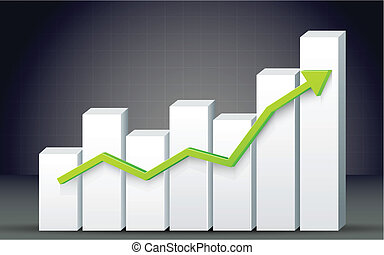 Bar Graph - illustration of business bar graph with arrow