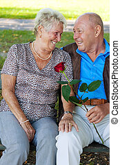 older elderly couple in love.