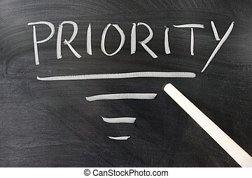 Priority concept - Pointer stick points to Priority word...
