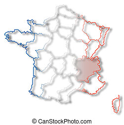 Map of France, Rhone-Alpes highlighted - Political map of...