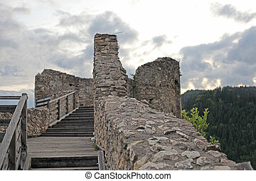 ruins of medieval castle in Austria
