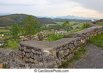 View of valley from ruins of medieval castle in Austria