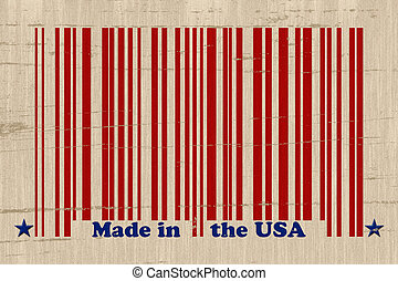 Made in the USA - A red bar code with the words made in the...