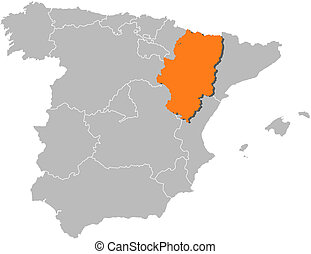 Map of Spain, Aragon highlighted